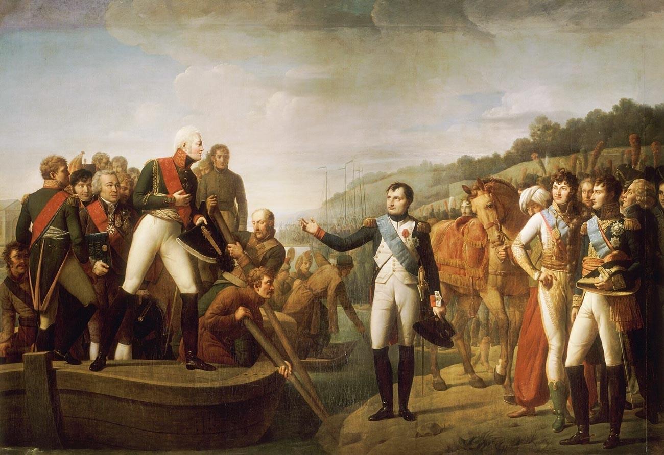 Perpisahan Napoleon dengan Tsar Aleksandr I pada 9 Juli 1807.