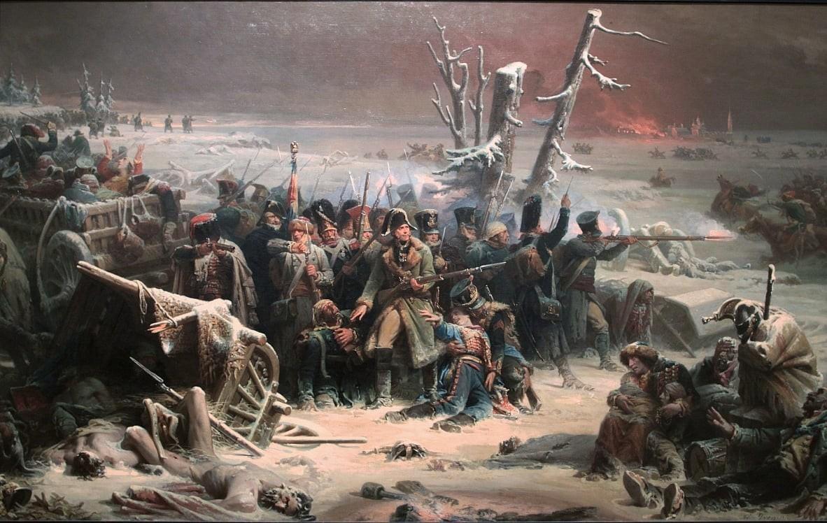 Marshal Ney membantu pasukan belakang Prancis selama penarikan pasukan dari Moskow.