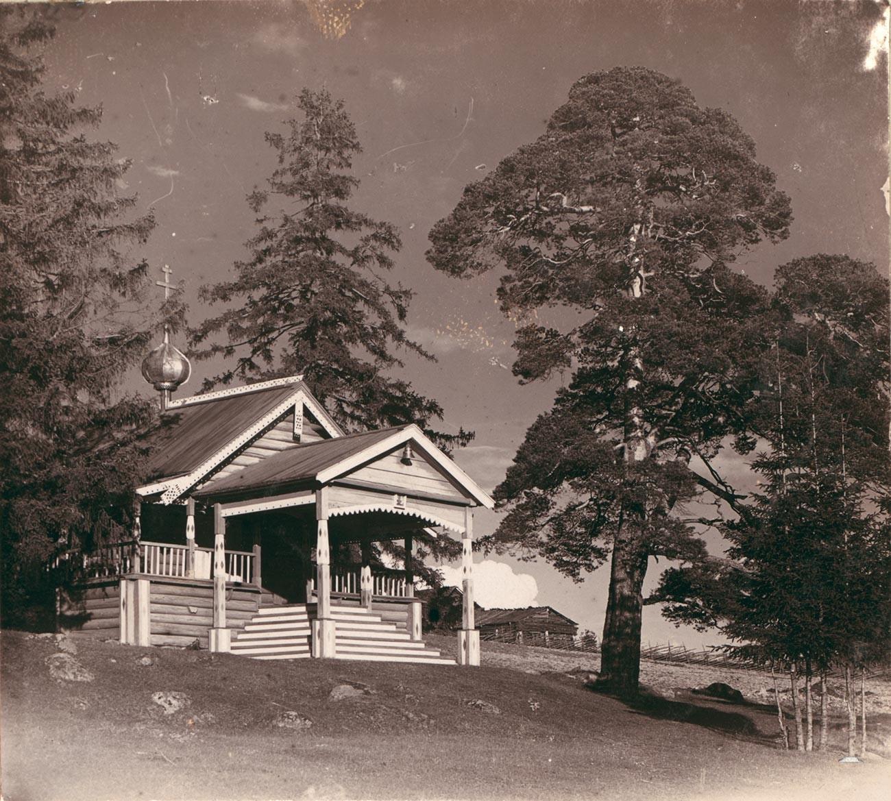Village de Materiki. Chapelle de Sainte Parascève d'Iconium (négatif verre original manquant). Photographie: Sergueï Prokoudine-Gorski. Été 1909