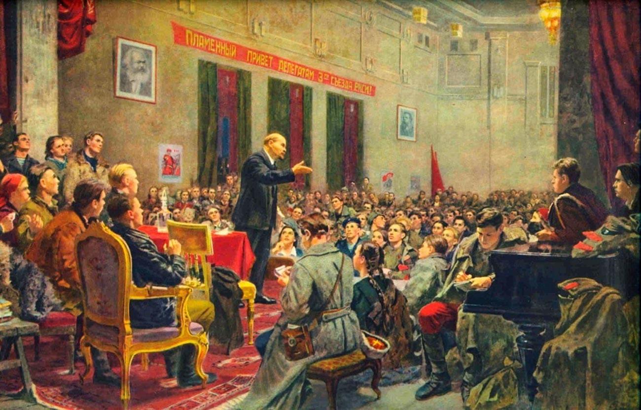 """""""Vladimir Lenin berpidato di Kongres ke-3 RKSM"""" oleh Boris Ioganson"""