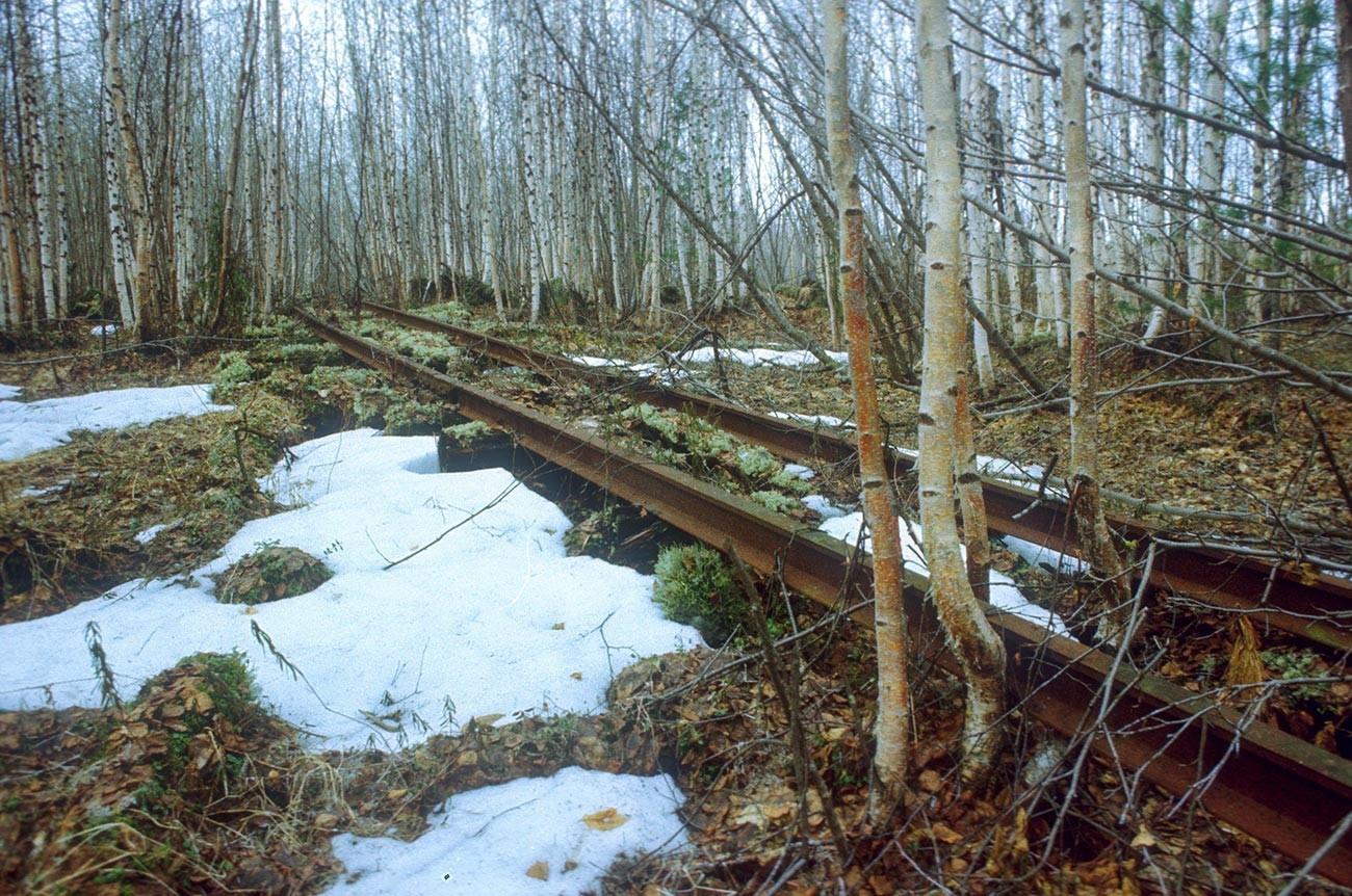 Rel kereta api di tundra.