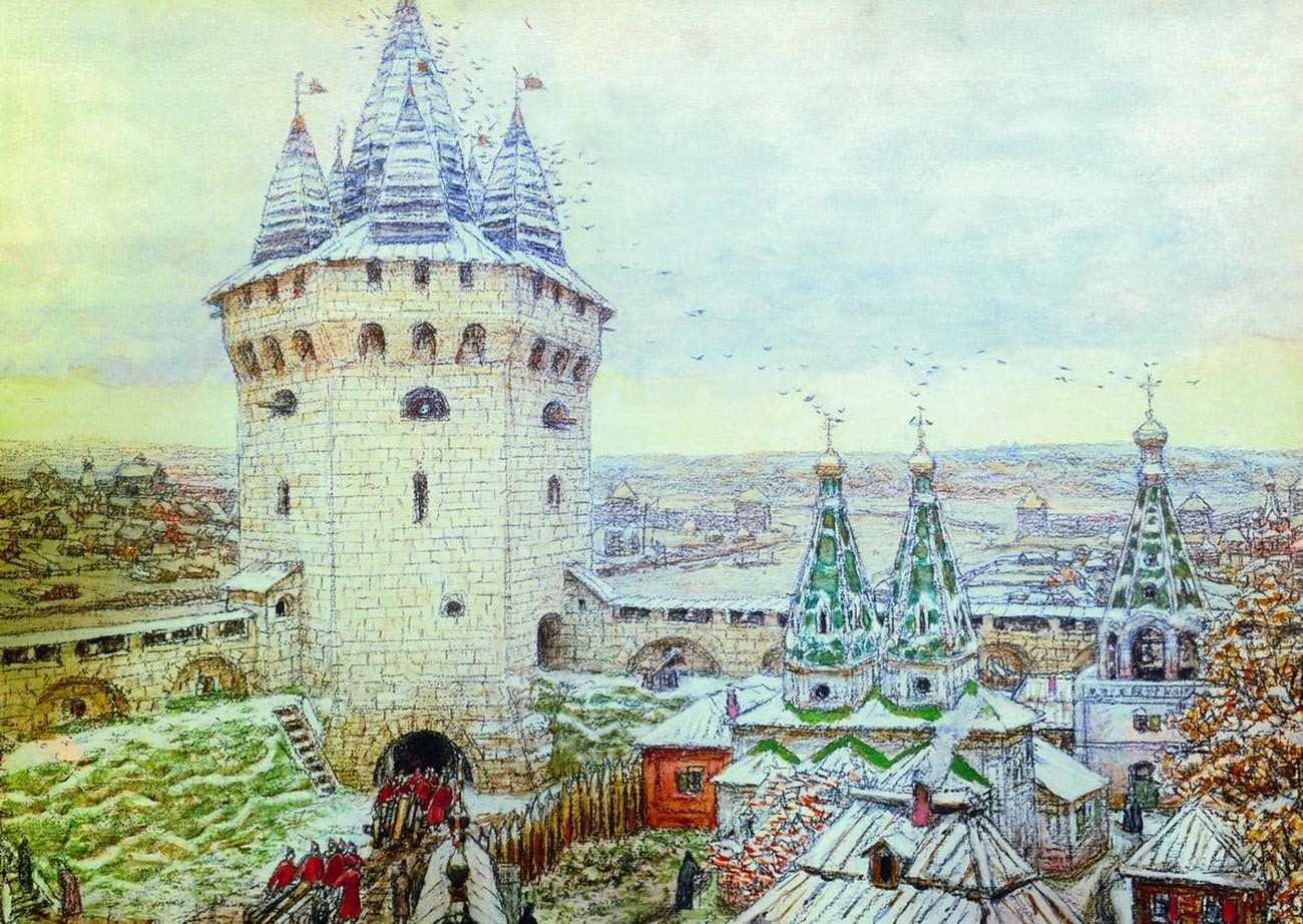 """Menara Kota Putih"" oleh Appolinary Vasnetsov (1856—1933)"
