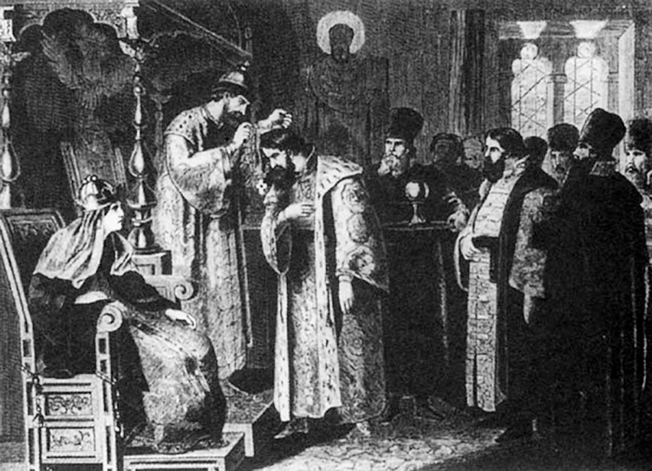 """Tsar Fyodor Ioannovitch memasang rantai emas pada Boris Godunov"" oleh Alexey Kivshenko, abad ke-19"