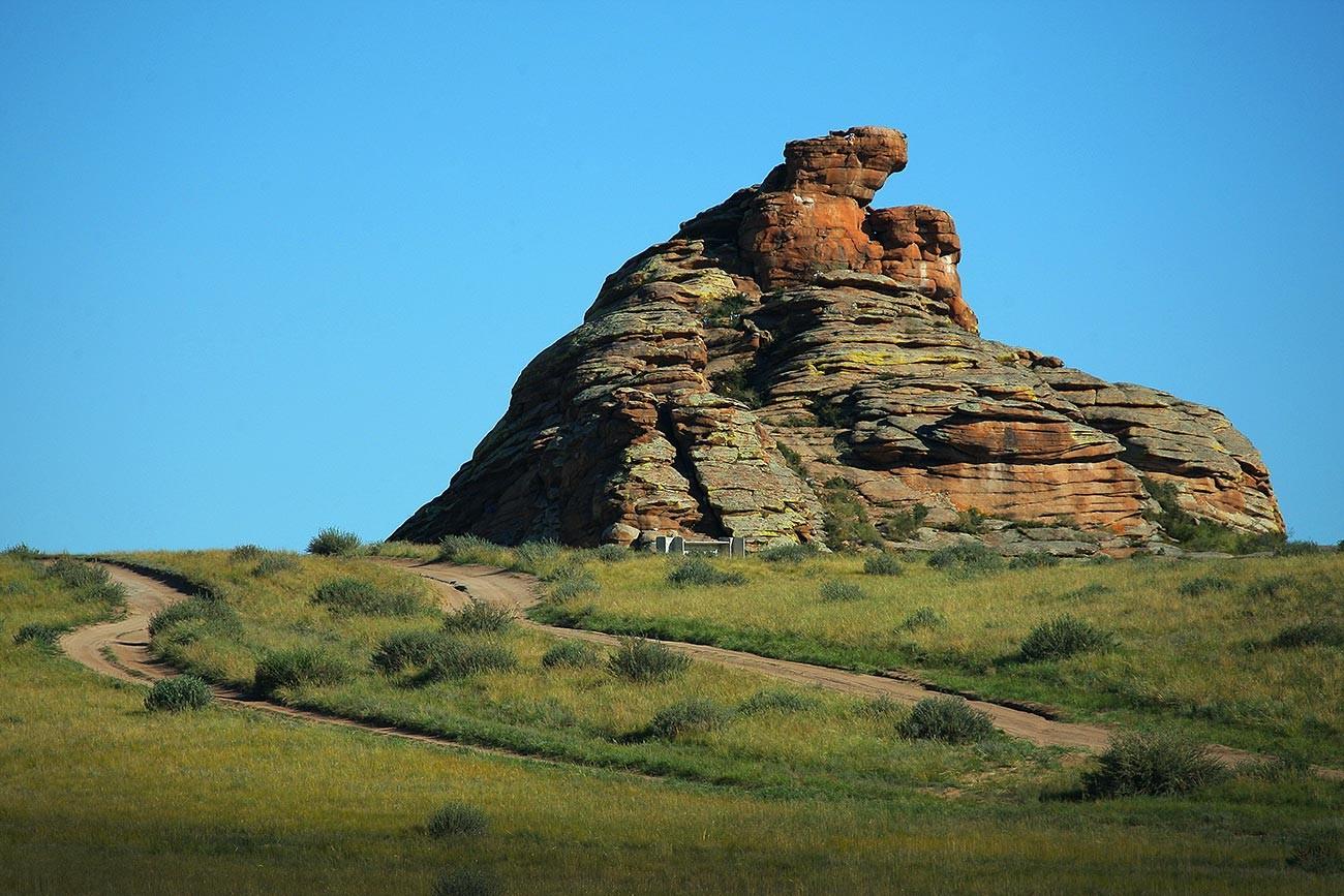 A rock near the border.