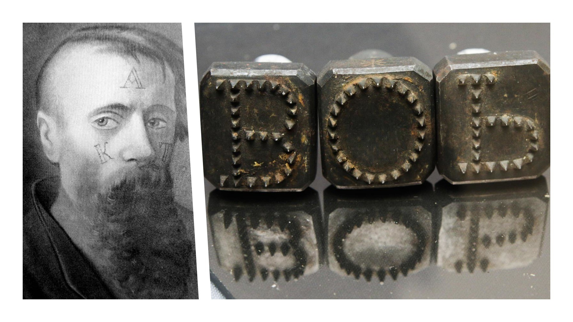 The way branding was performed on a convict's face / The tool used for human branding, early 19th century.