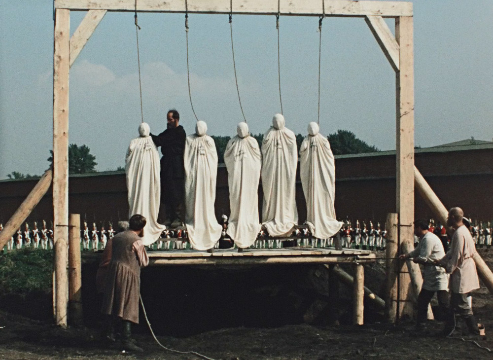 The hanging of the Decemberists. A still from
