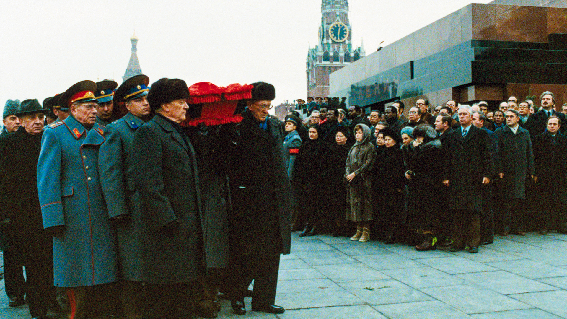Leaders of the Communist Party of Russia bear the casket of Leonid Brezhnev, former Communist Party leader, in front of the Tomb of Lenin in Red Square during the funeral procession.