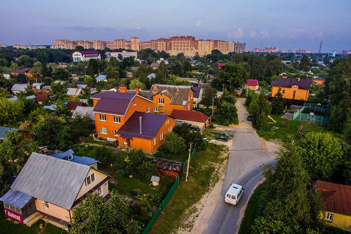 Apartment buildings and garden plots in the city of Shchelkovo, Moscow region.