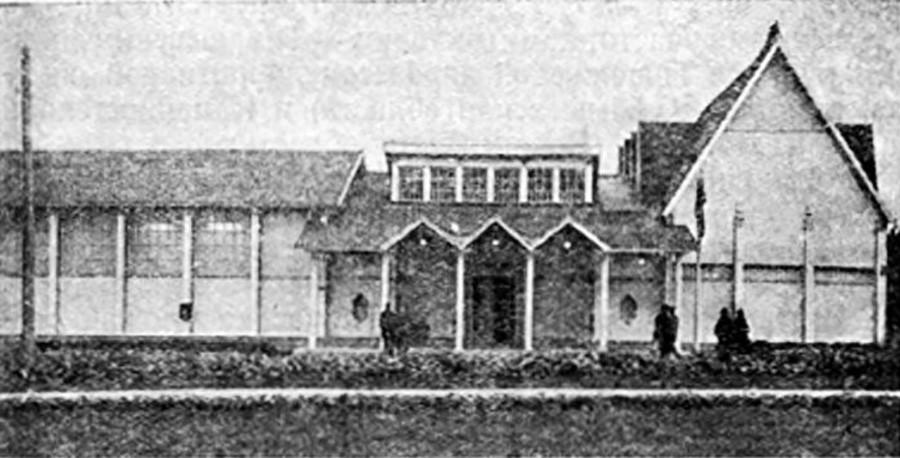 """Il padiglione """"Agrolesomelioratsija"""" che si occupava delle tecniche di miglioramento di terreni agricoli e boschi, in una foto del 1939"""