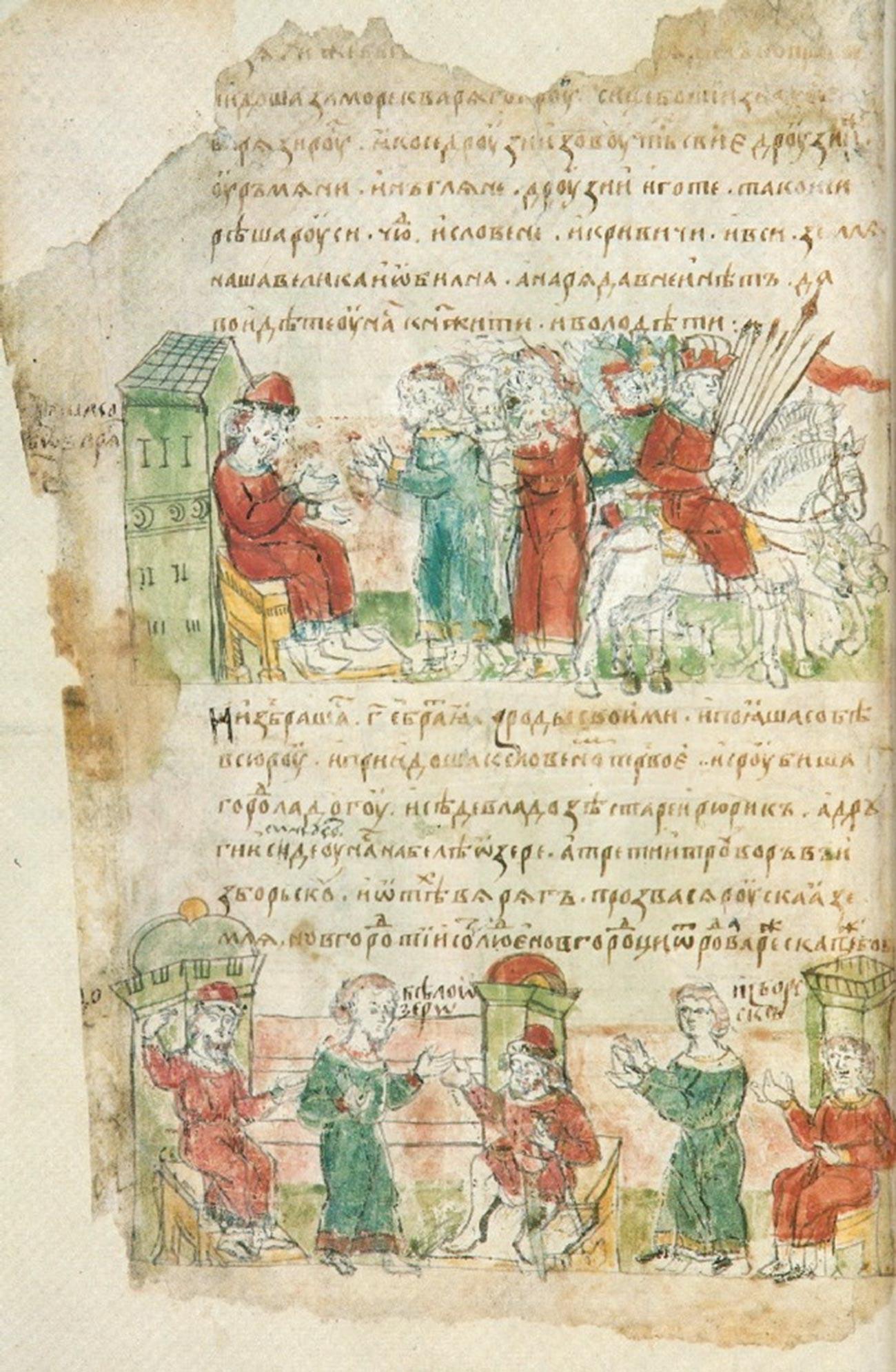 Invitation aux Varègues. Miniature issue de la Chronique des Radziwiłł du XVe siècle