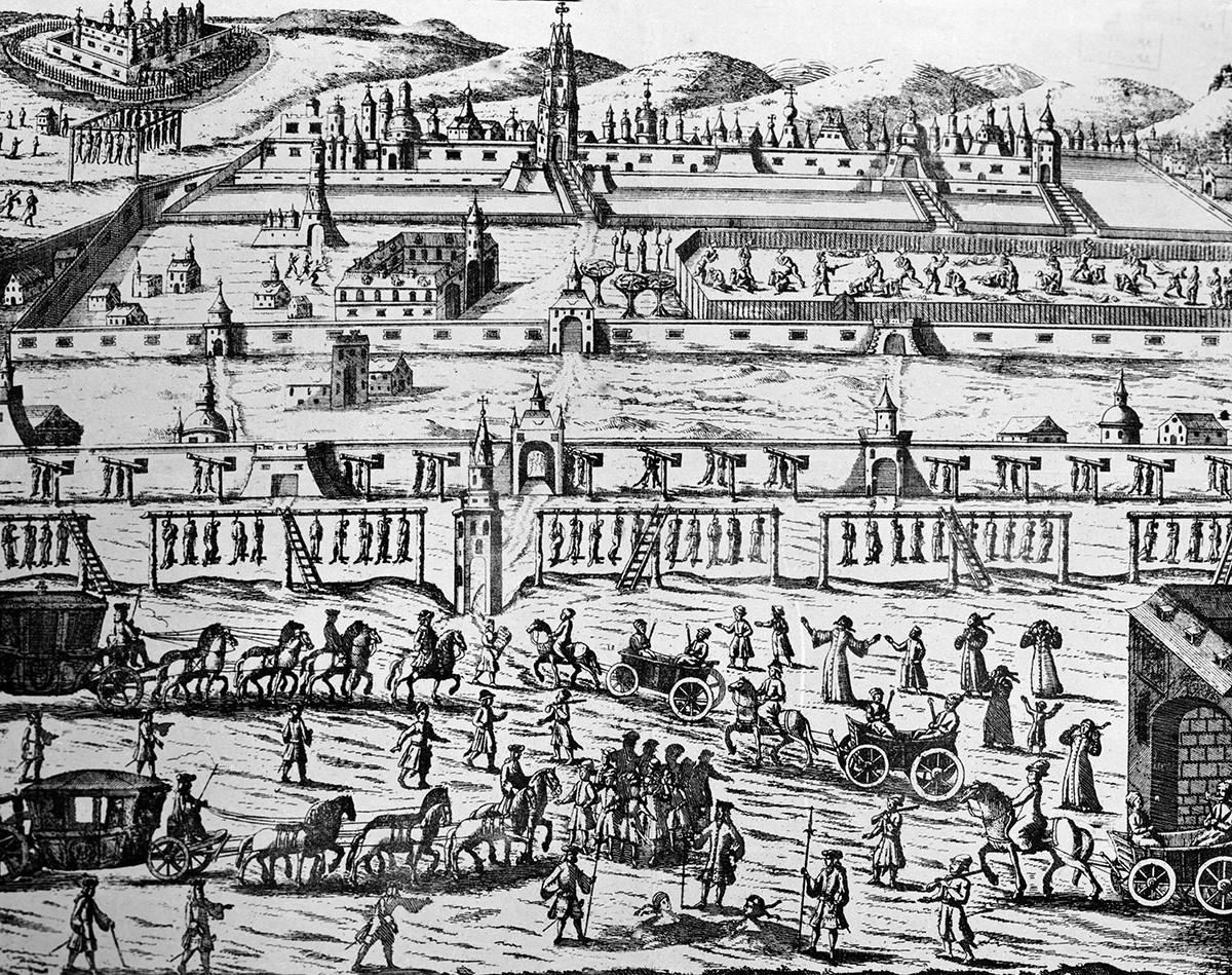 """""""Hinrichtung von Bogenschützen in 1698"""" aus dem Buch von Johann Korb. Aus Mitteln des Staatlichen Historischen. Museums."""