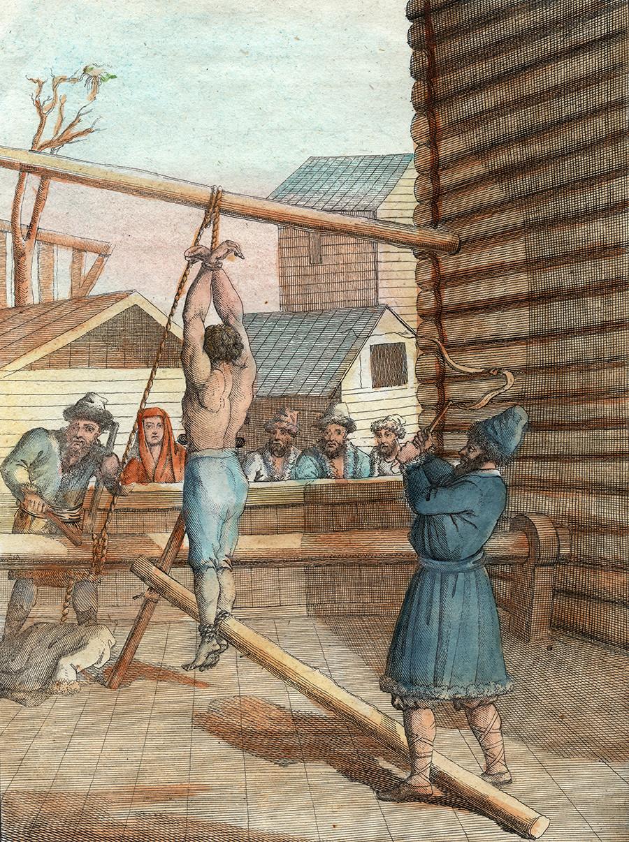 Farbiger Kupferstich mit der Darstellung der Bestrafung mit einer großen Knute, einer geißelartigen Mehrfachpeitsche, in Russland, um 1800.