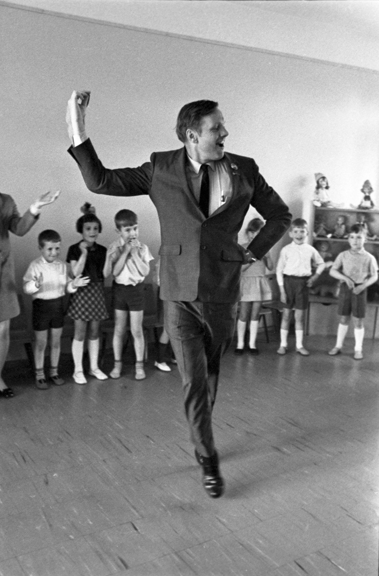 Neil Armstrong, dancing at the Solnyshko Children's Health Center near Leningrad.
