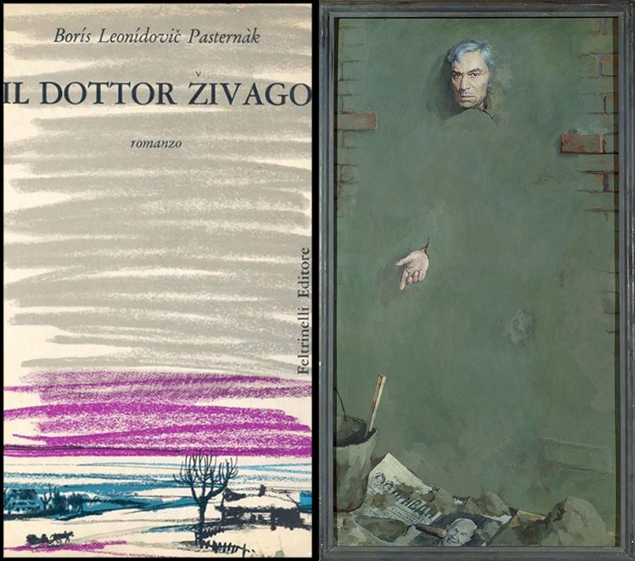 Esq.: capa da primeira edição de Jivago, de 1957. Dir.: Retrato de Pasternak por Piotr Alekseievitch Belov.