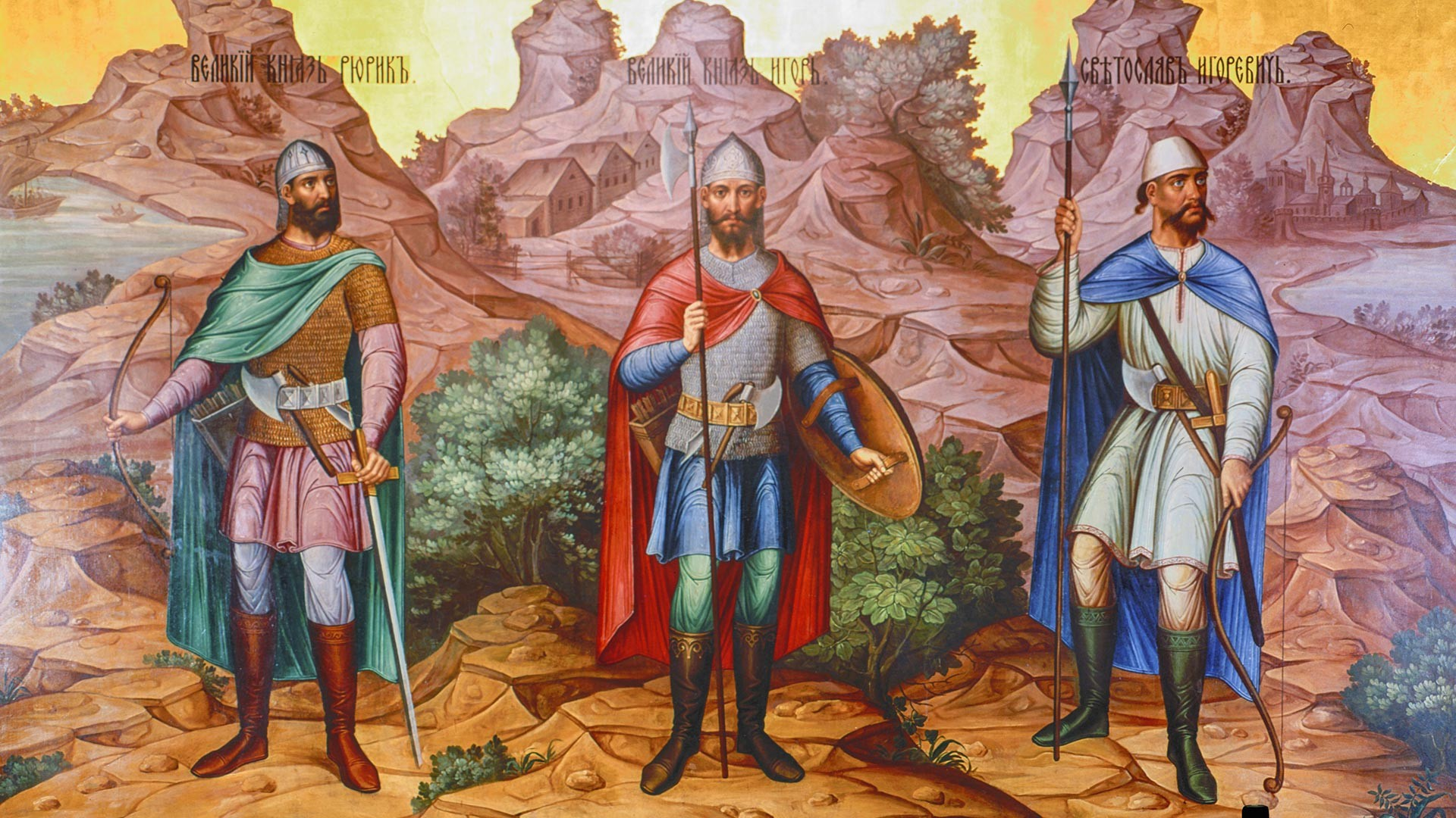 Dari kiri ke kanan: Adipati Agung Rurik, Adipati Agung Igor, Adipati Igor Svyatoslavovich. Sebuah fragmen mural. Granovitaya Palata, Kremlin Moskow.