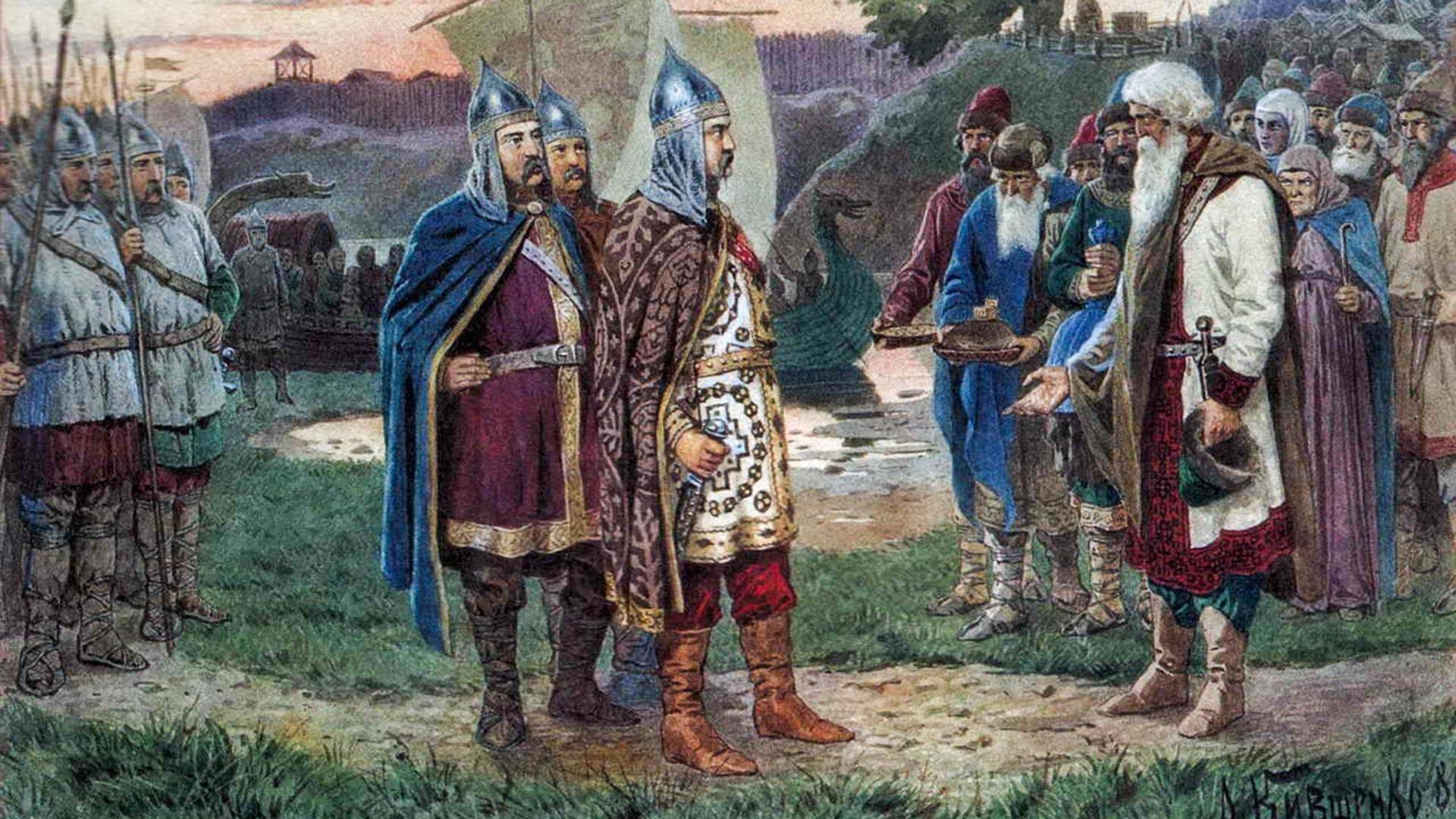 """Pemanggilan orang-orang Varangia"" oleh Aleksey Kivshenko"