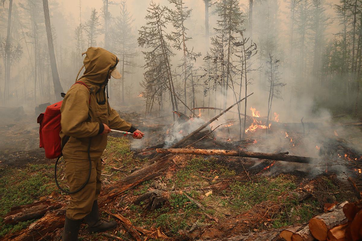 サハ共和国のマガラス村の近くで森林火災を消す地元の森林保護管理局の専門家