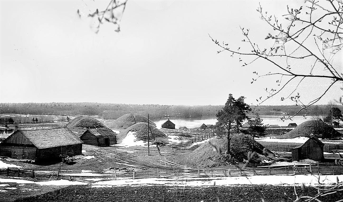 Un gruppo di kurgan vicino al lago Meglino, nella regione di Novgorod