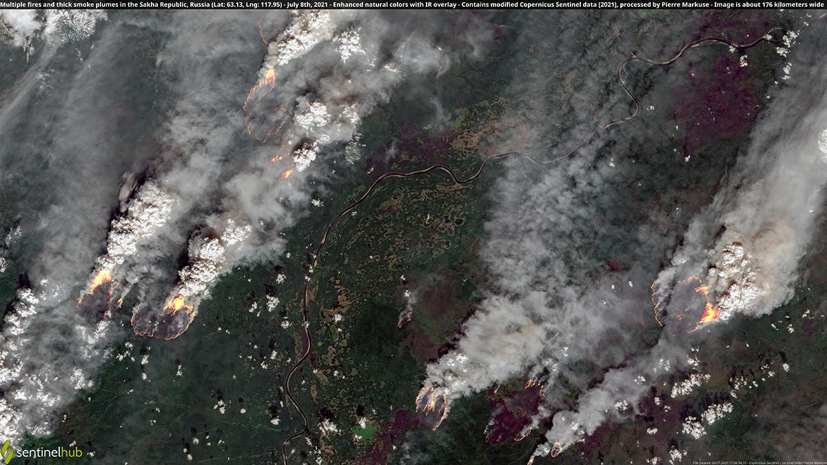 Die Brände sind aus dem Weltraum sichtbar.