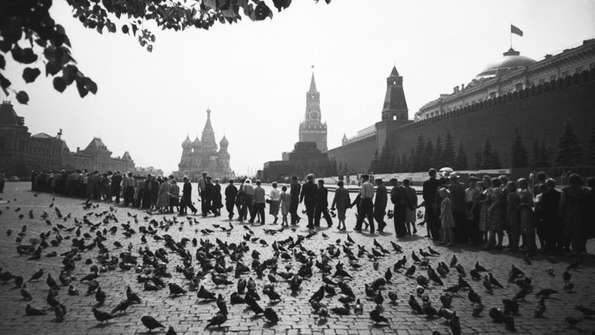 Persone in fila davanti in Piazza Rossa a Mosca