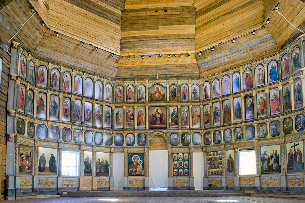Church of Elijah the Prophet. Interior, restored icon screen with reproductions of icons. June 1, 2014