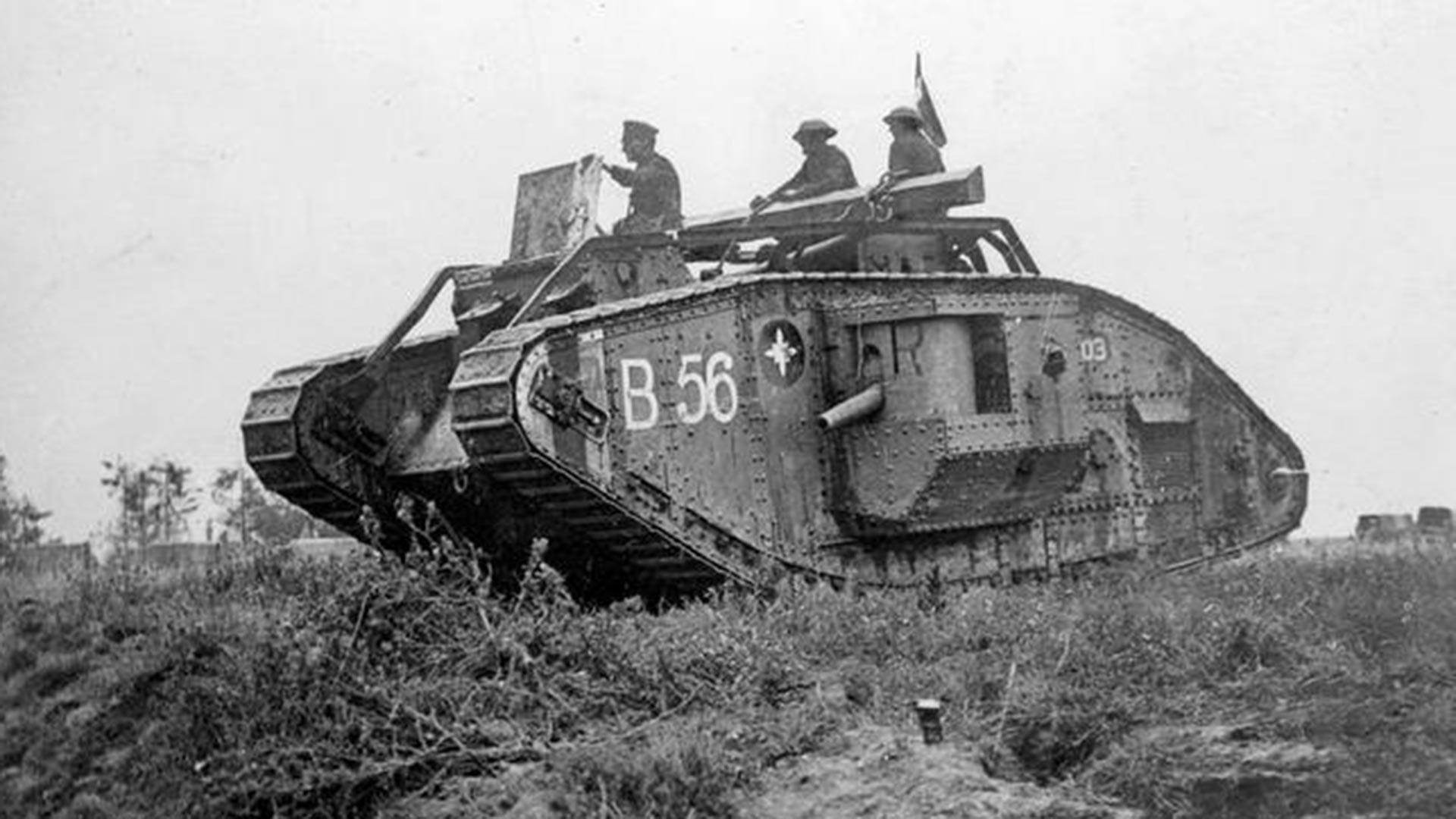 Ein britischer Mark-V-Panzer.