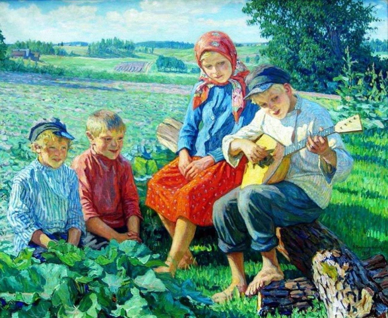 """Anak-anak bermain balalaika"", 1937, oleh Nikolai Bogdanov-Belsky (1868—1945)."