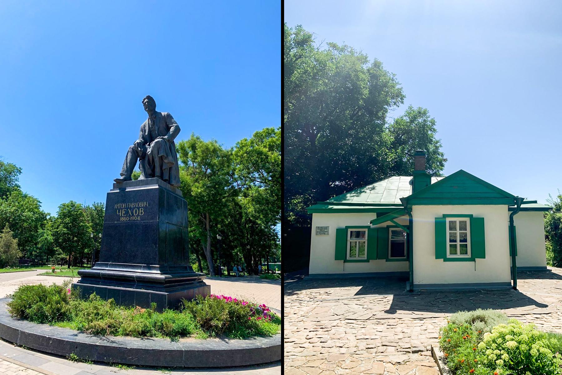 Памятник Антону Чехову в Таганроге и домик, где родился писатель