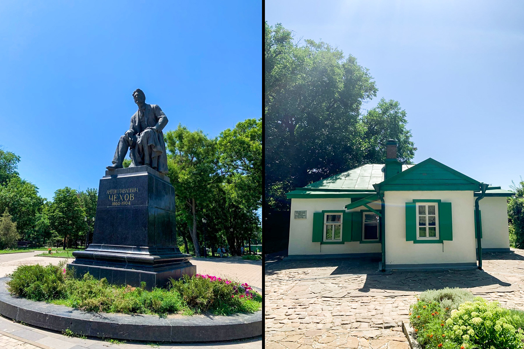Anton Chekhov's monument in Taganrog and the house where he was born
