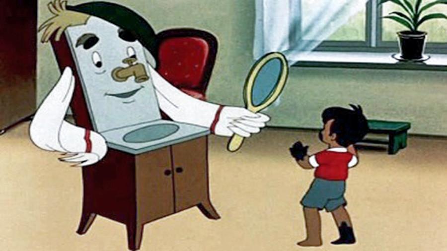Sebuah adegan dari film kartun Soviet tentang kebersihan.
