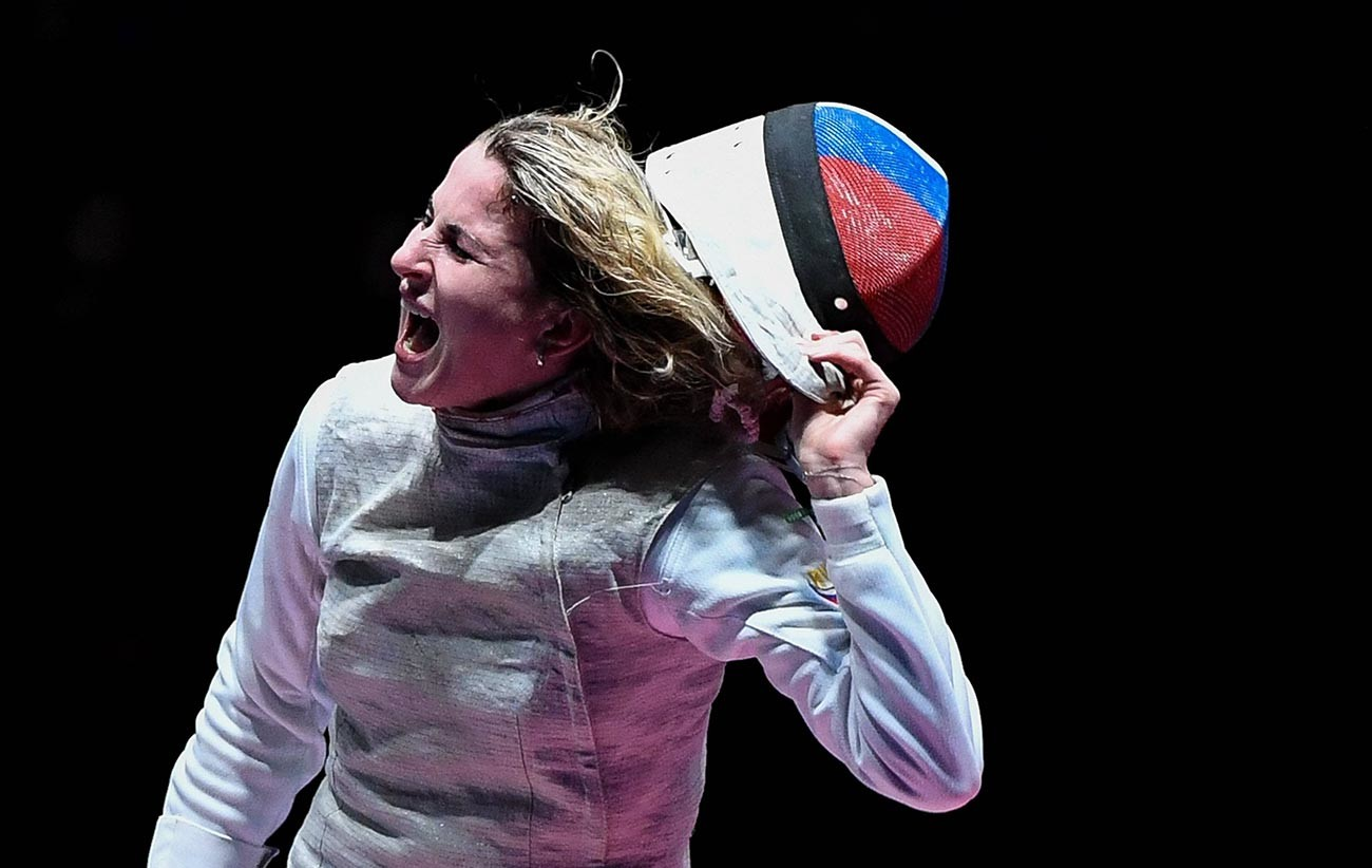 Inna Deriglazova of Russia reacts during the women s foil individual final of fencing against Elisa Di Francisca of Italy at the 2016 Rio Olympic Games Olympische Spiele Olympia OS in Rio de Janeiro, Brazil, on Aug. 10, 2016. Inna Deriglazova won the gold medal