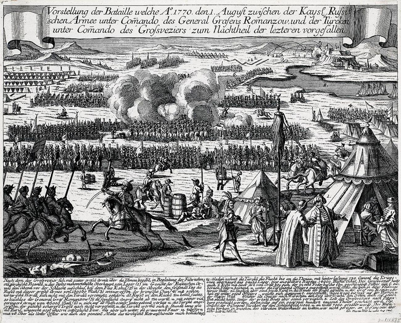Гравюра «Сражение при Кагуле».