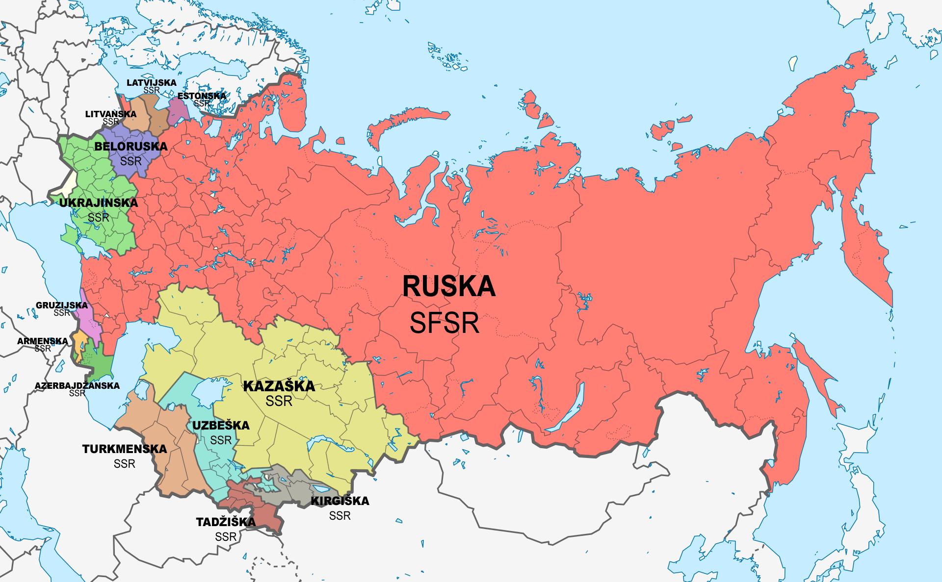 Zemljevid sovjetskih socialističnih republik (1956-1991)