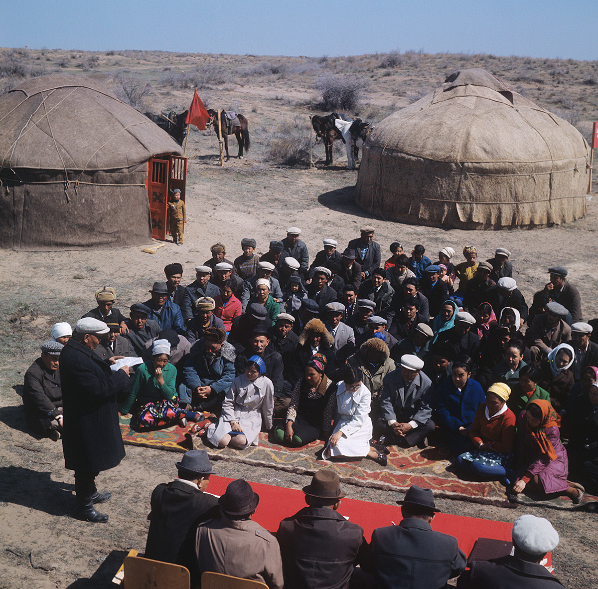 Dzhambul Region. Farmers of the Aidarlinsky Persian lamb state farm gather for a meeting, 1973