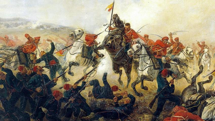 """""""Kampf in der Nähe von Telisch während des Russisch-Türkischen Krieges von 1877-1878""""."""