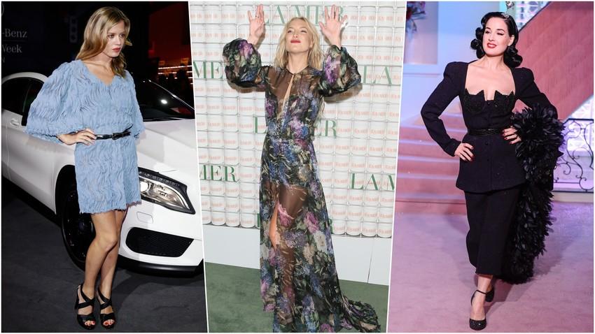 Georgia May Jagger dengan pakaian Alena Akhmadullina, Dita von Teese dengan pakaian Sergeenko, dan Kate Hudson dengan Yanina.