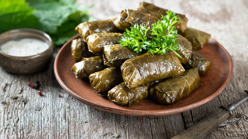 This is an amazing dish that combines lamb with delicate grape leaves.