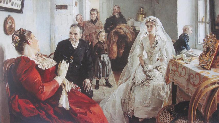 """In attesa del testimone di nozze"" (1891), dipinto di Ilarion Prjanishnikov (1840-1894)"