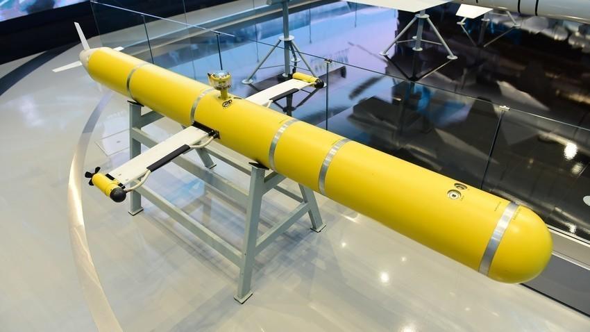 """Rusija, Moskovska regija. Avtonomni nosilec hidrofizikalne opreme s spremenljivo plovnostjo (ANHAPP), proizveden v koncernu """"Morskoje podvodnoje oružije - Gidropribor"""" (del korporacije """"Taktičeskoje raketnoje vooruženije""""), na Mednarodnem vojaško-tehničnem forumu """"Armija-2021"""" v parku """"Patriot""""."""
