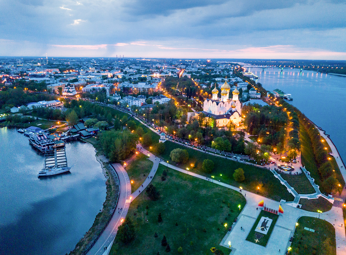 The Assumption Cathedral at the arrow of the Volga and Kotorosl rivers in Yaroslavl