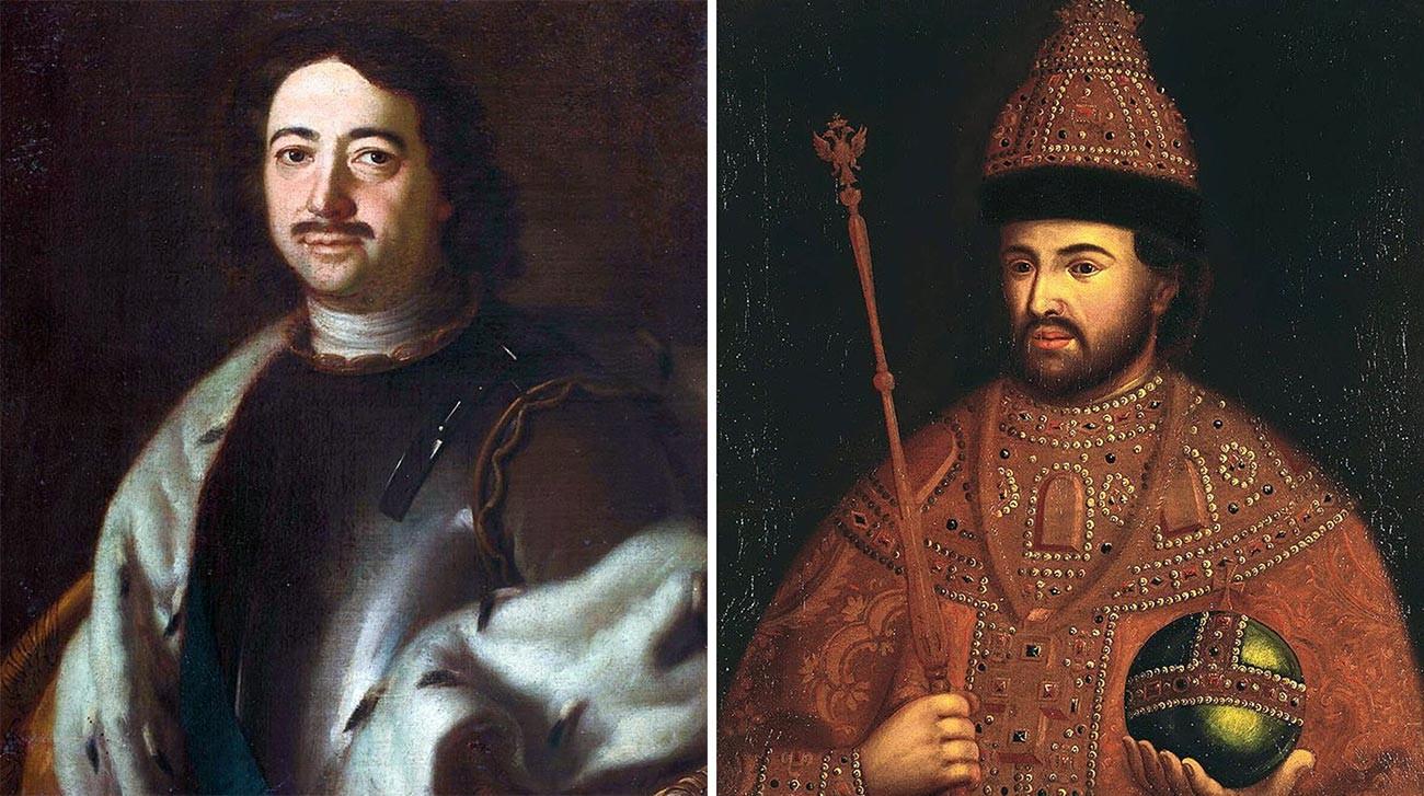 Pierre Ier (à gauche) et Ivan V (à droite)