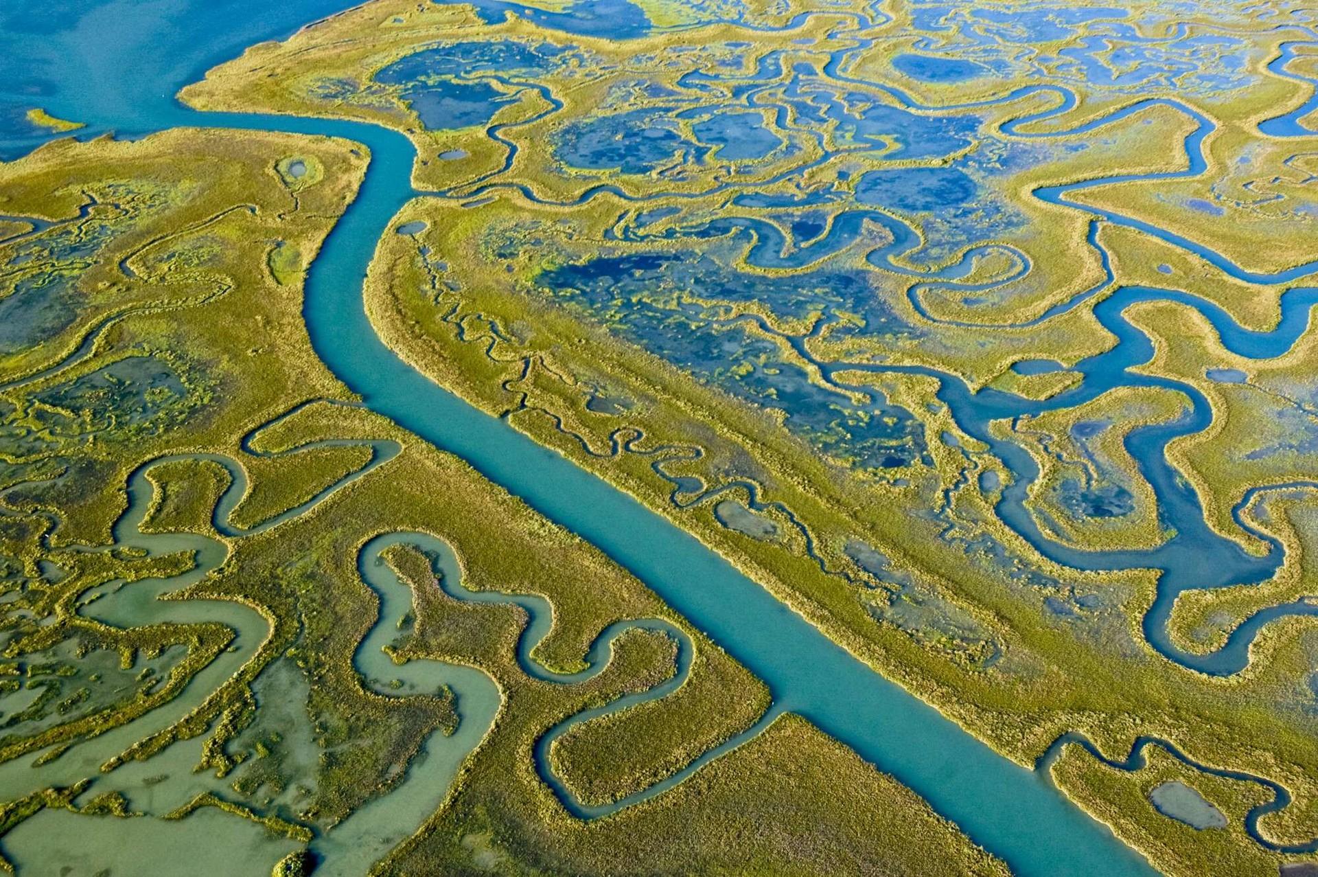 Vista aerea della Laguna di Venezia
