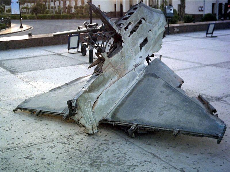 Restos de um A-4 Skyhawk da Força Aérea israelense abatido na guerra de outubro entre Israel e o Egito.. Não se sabe, porém, se esta aeronave foi abatida pelo míssil soviético ou por caças da Força Aérea egípcia