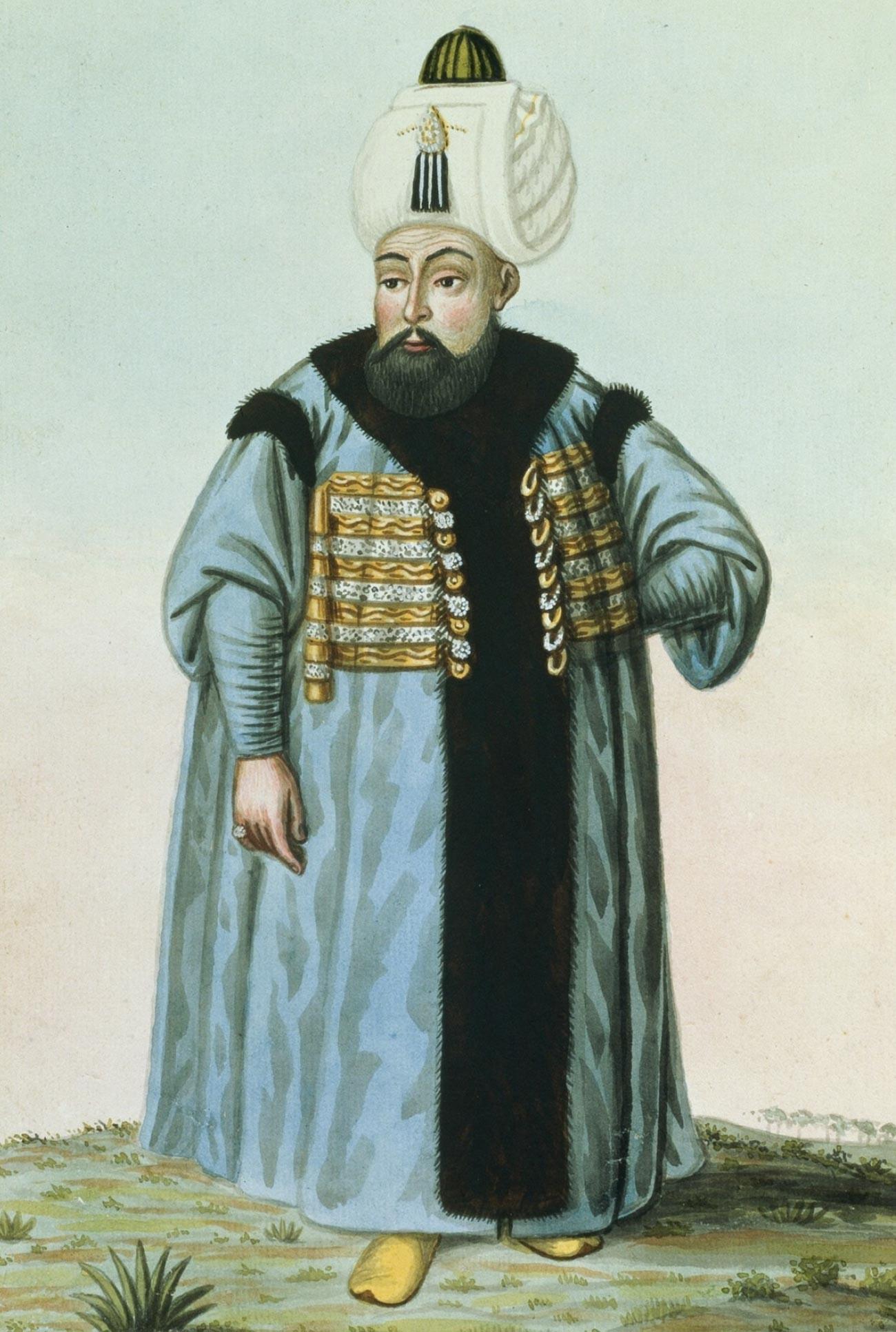 Retrato de Selim II, sultão do Império Otomano (1566-1574).