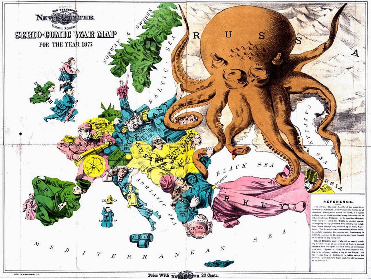 Mapa satírico da Europa em 1877.