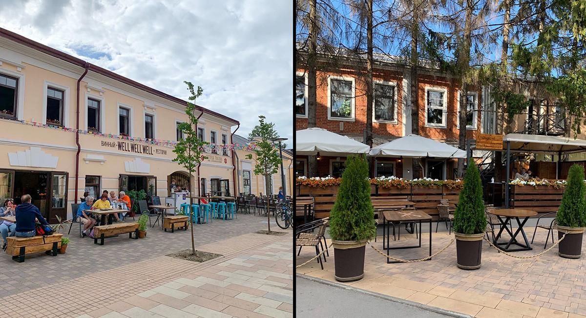 """Ulitsa (via) Metallistov, a sinistra, e il nuovo quartiere gastronomico """"Iskra"""""""