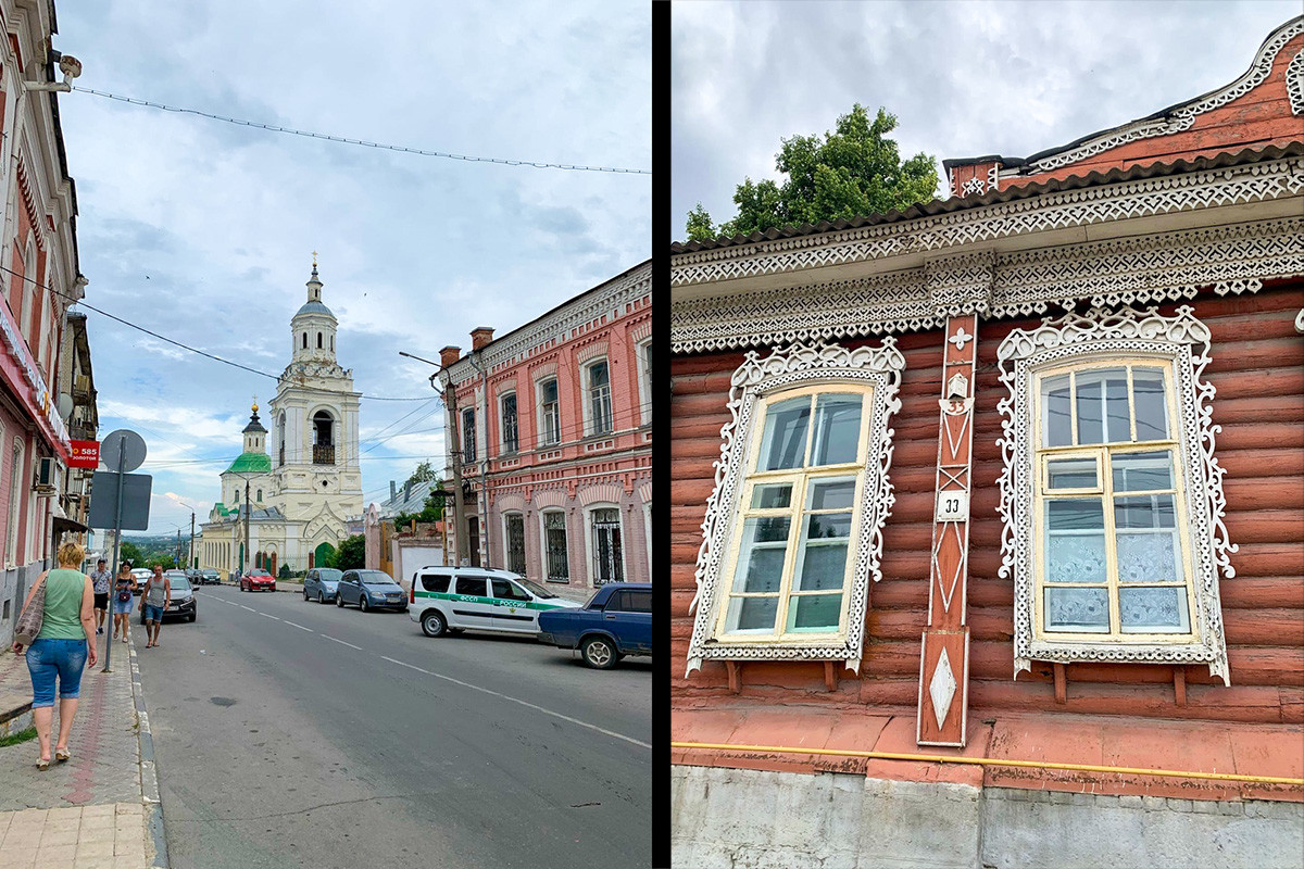 Vecchie case in legno nella piccola città di Elets