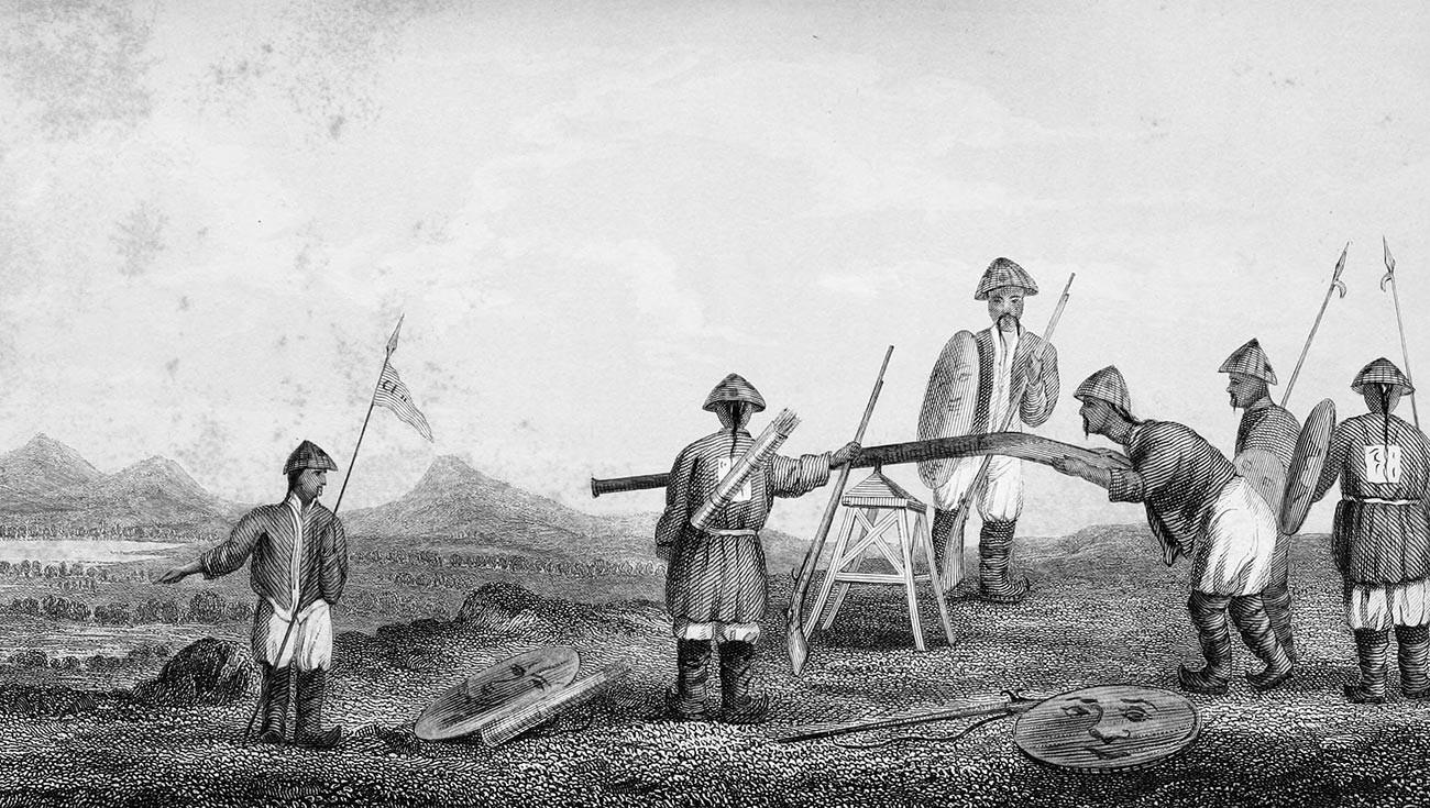 Кинески војници са артиљеријским оруђем.