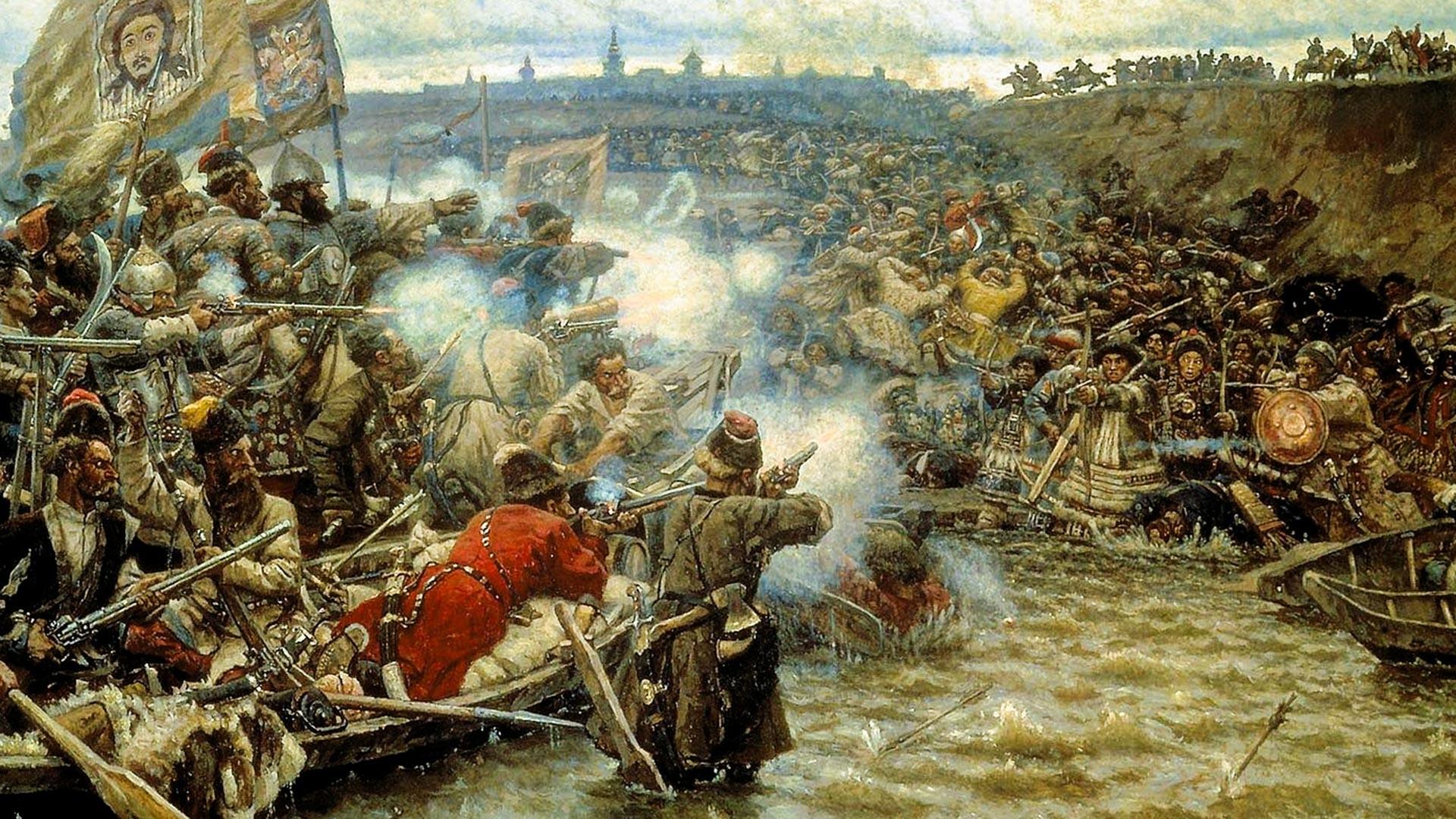 A conquista da Sibéria por Ermak Timofeievich.