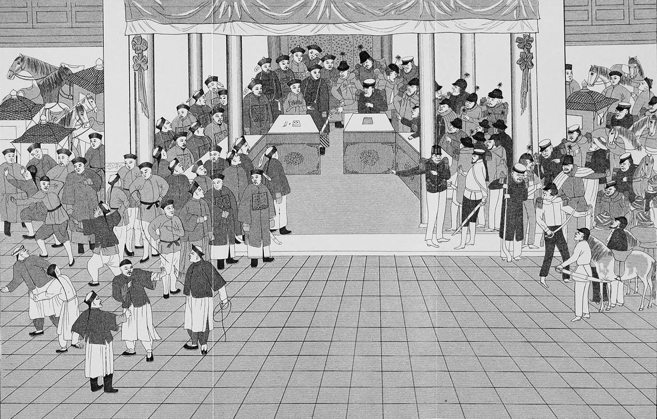 Assinatura do Tratado de Pequim por Elgin e Príncipe Kung.